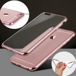Wholesale Ultra Thin Slim Electroplating Gilded Plating TPU Clear Case Cover For iPhone S Plus SE S Galaxy S7 S6 Note A7 A8 Free Ship MOQ pc
