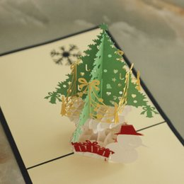 DHL Free Shipping 5 Items per Lot 3D POP UP Handmade Christmas  Gift  Greeting Card with Christmas Tree Decoration