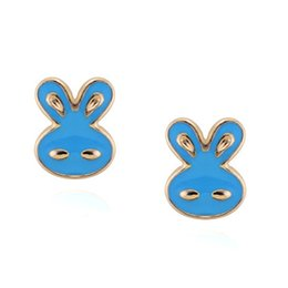 High Quality Hot Cute Animal Rabbit 18K Gold Plated Stud Earrings for Women Party Jewelry Accessories