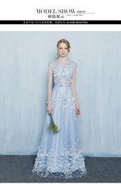 100%real light cinderella blue flower rhinestone long dress Medieval dress Renaissance gown royal dress Victoria dress