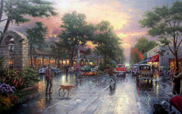 Wholesale Thomas Kinkade Landscape Oil Painting Reproduction High Quality Giclee Print on Canvas Modern Home Art Decor TK017