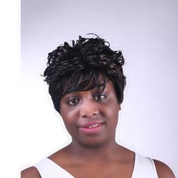 Corto rizado peinados mujeres en venta-Moda elegante negro americano pelucas de corte peinados africanos cortas sintéticas de pelo rizado Negro Pelucas para mujeres