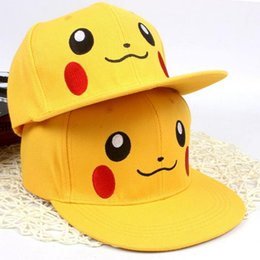 Wholesale 2016 Anime Cosplay Poke Pocket Monster Ash Ketchum Baseball Cap Pikachu Cute Hip Hop Cap Hat Gift Cool Fashionable