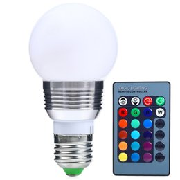Wholesale On Sale W V Lm High efficient RGB E27 LED Bulb with Remote Control For Architectural Lighting Home Lighting