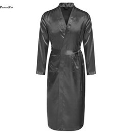 Wholesale-Mens Summer Robes Solid V-neck Kimono Bathrobe Long Satin Robe Sleepwear Adjustable Waistband Peignoir Homme Albornoz Hombre ZD