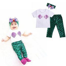 Wholesale Baby Mermaid Suits Set Infant Short Sleeve T shirt Tops Mermaid Long Pants Hair Band Toddler Outfits Kids Suits LJJG422