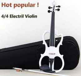 Wholesale High quality handmake white electric violin send black violin case white bow violin parts