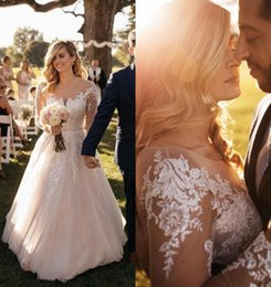 Wholesale Vitnage Sheer Long Sleeves Lace Arabic A Line Wedding Dresses Plus Size Custom Made Spring Garden Country Bridal Wedding Gowns Cheap