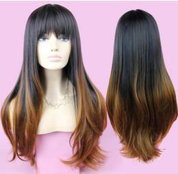 2017 resistente para el cabello de calor Ombre peluca Celebrity Neat Bang rizado de dos tonos pelucas resistente al calor ondulado sintéticas de pelo para las mujeres negras Pruiken Perruque baratos resistente para el cabello de calor en oferta