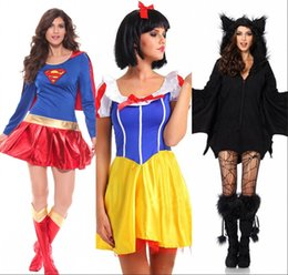 Wholesale New Arrival Halloween Costumes Superhero Cosplay Sexy Fancy Dress Snow White Cosplay Black Batman Anime Costumes Gown Clothes for Women