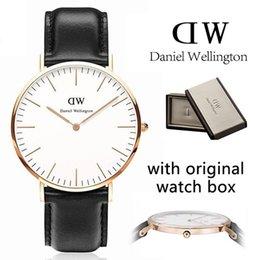 Wholesale Best Luxury Top Brand DanielWellington DW Watch Women Mens watches Nylon Leather Strap Gold Dial Couple Quartz Wristwatch Relojes Gift Box