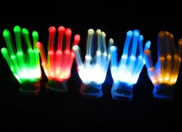 Flashing Finger Lighting Gloves Halloween Christmas club dance fancy dress LED Colorful Rave magic Gloves Light show filler bag gift