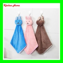 Wholesale 2016 Cute Cartoon Rabbit Design Coral Velvet Dry Hands Cloth Towel dishcloth Bowel Oil cleaning accessories for Kitchen