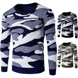 Wholesale European Camouflage Men Sweater Round Neck Winter Fashion Sweater Thicken For Men Pullover Slim Knitwear Wild Casual Men Sweater J161009