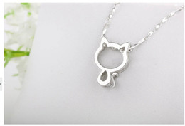Hollow Out 925 Silver Cat Pendant With Water Wave Chain Necklace Best Gift Present For Prom Party Women Ladies Gilrls