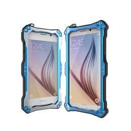 Wholesale Para Samsung Galaxy S6 Edge caja del teléfono celular impermeable a prueba de choques a prueba de suciedad R Just Potente cubierta Aerometal vidrio templado cubierta de buceo