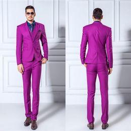 (Jackets+Pants+Vest) Men Suits Slim Blazers Tuxedo Groom Prom Purple Wedding Suits Stylish Fashionable Popular Prom Tuxedo