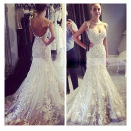 Romantic Sexy Backless Wedding Dresses Mermaid Lace Spaghetti Straps Sweetheart Bridal Gowns Summer Custom Made Hot Sale