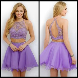 Wholesale 2017 Lanvender Chiffon Two Pieces Homecoming Dresses Short Blush Chiffon Halter Beads Sleeveless Short A line Hollow Cocktail Party Prom Dre