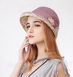 Wholesale Small Brim Summer Hats - European and American Fashion Summer Explosion Models Summer Sun Hat Female UV Sunscreen Beach Hat Women Bow Small Brimmed Hat