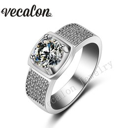 Vecalon Male Party ring Round 3ct Topaz Simulated diamond Cz 925 Sterling Silver Engagement wedding Band ring for Men Sz 8-13