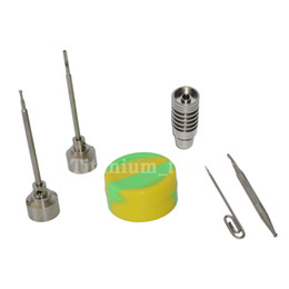 14&18mm Male Titanium nail with Titanium carb cap with 1 random Silicone Jar Container with 2 Real Ti dabbers