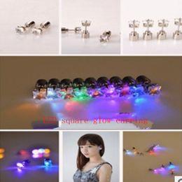 New fashion square glow earring han edition fashion diamond earrings LED flower sweet square ear diamond