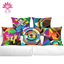 muchun Brand Colorful Abstract Style Christmas Cotton&Linen Sofa Throw Pillow Cover 45*45 cm Halloween Party Thicken Decorative Pillow Case