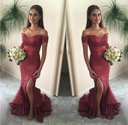2017 Nuevo Bling Bling Borgoña Sexy Fuera del Hombro Lentejuelas Vestidos de Dama de Honor Largo Evening Party Wear Vestidos Formales Sirena Vestidos de Baile 048