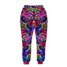 Wholesale Andy New style men women d harem pant print colorful roses flowers long trousers sports joggers hip hop pant