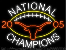 "UT National Champions 2005 Cow Neon Sign Custom Real Glass Tube Club Pub Advertisement Games Sport LED Display Neon Signs 30""X24"""