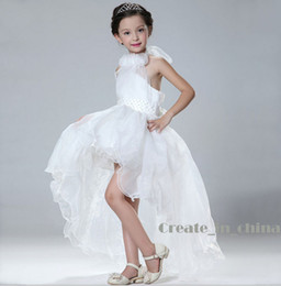 Wholesale Flower Girls Dresses Halter Chiffon Ball Gown Tail Sleeveless Ball Gown Real Photo HOT SELL