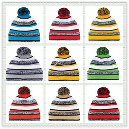 Wholesale Hot Sale Cotton Men Women American Football Team Winter Hats Stripe Cuff Sports Knitted Beanies Basketball Skullies Hat For Men Mix Order