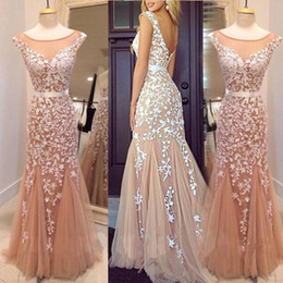 2016 Champagne Prom Dresses Tulle Appliques Sheer Neck Sash Mermaid Capped Sleeves Evening Gowns Open Back Scoop Cheap Free Shipping Dress