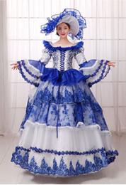 100%real carnival royal blue embroidery beading court medieval dress with hat renaissance Gown queen Victorian Belle  ball gown
