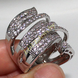 Handmade jewellery Unique Shaped 14K White Gold Filled CZ Diamond Full Paved Cocktail Rings for Womens Vivid Ring