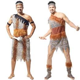Wholesale Hot Sale Halloween Adult Primitive Tribe Savage Leopard Print Cosplay Costume Aboriginal Wild Man Performance Clothing SW0329