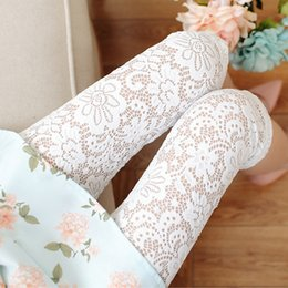 Wholesale Women Crochet Lace Stretch Leggings Embroidery Floral Perspective Sexy Tights Capri Pants Render Pant Pencil Slim Ninth Pants