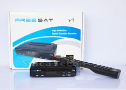 Wholesale Freesat V7 DVB S2 HD satellite TV receiver Youtube power vu CCcam newcamd