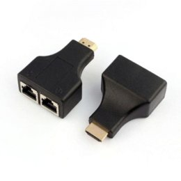 Wholesale Best Price Black HDMI To Dual Port RJ45 Network Cable Extender Adapter Over by Cat e p for HD DVD PS3