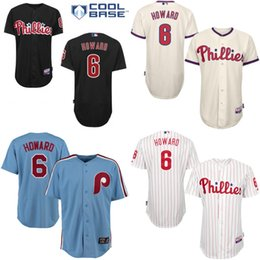 Wholesale Black cream grey blue Ryan Howard Authentic Jersey Men s Philadelphia Phillies Cool Base