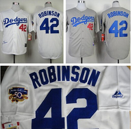 Wholesale New Fashion Los Angeles Dodgers Jackie Robinson Jersey Throwback M N jerseys White Cream grey black Baseball Jerseys