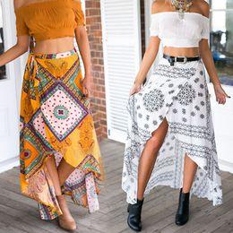 Племенные печатные издания для продажи-2016 Vintage Ladies Tribal напечатали длинную юбку Летние бохо женские высокие низкие юбки Maxi обернутые пляж скрыть платье NSHA65