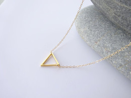10PCS- N135 Tiny Open Triangle Necklaces Chevron Triangle Outline Necklace Simple Geometric V Necklace for Women