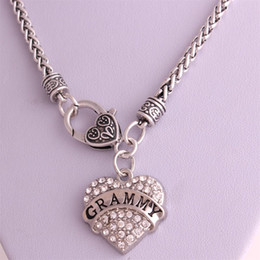 Drop Shipping New Arrival rhodium plated zinc studded with sparkling crystals GRAMMY heart pendant wheat chain necklace