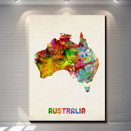 Wholesale Vintage Watercolor map of Australia Pictures Painting Canvas Poster Painting Prints Hotel Bar Garage Living Room Wall Home Art Decor Poster