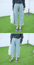 women woman world fashion jeans spring autumn hole overall washed rigged vintage light-blue loose