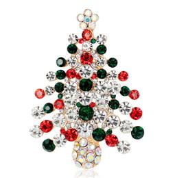 2016 New Christmas Tree Brooch Rhinestone Crystal Brooches For Female Pins Lapel Pin Women Wedding Scarf Pins Charm Jewelry