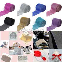Wholesale 5 Yards Diamond Mesh Wrap Ribbon Roll Row Sparkle Rhinestone for Wedding Party Banquet Chair Cover Plastic Ribbon Bow Deco colors