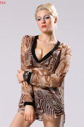 New Spring Leopard Zebra Striped Shirts Women Blouses Fashion Summer Casual Chiffon Blouse Sheer Long Sleeve Shirt Tropical Camisas YC000087